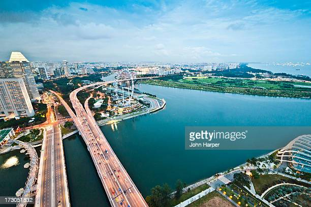 Aerial of highway, Singapore.