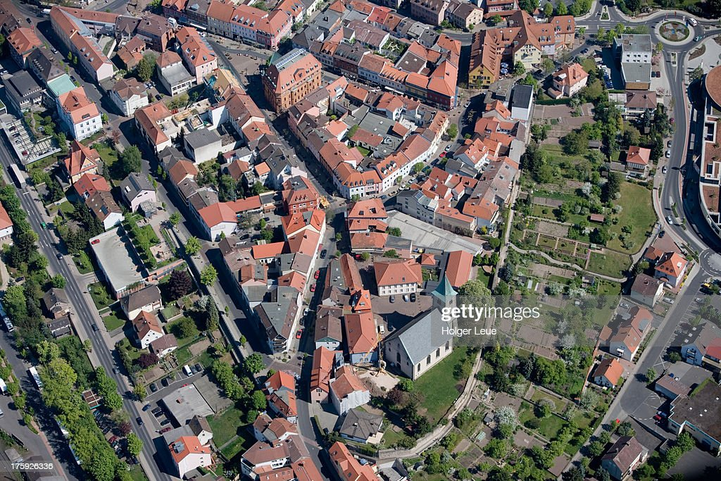 Aerial of Hünfeld town center : Stock Photo