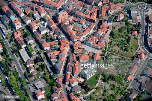 Aerial of Hünfeld town center : Stock Photo