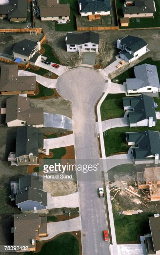 Aerial of housing cul-de-sac