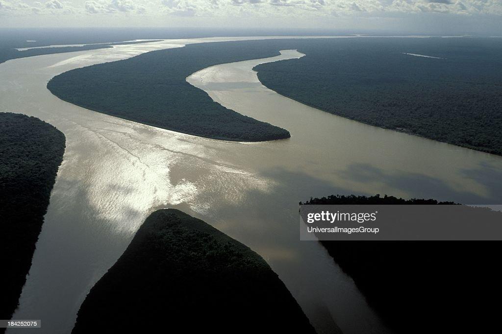 Aerial of islands in Amazon estuary near Marajó Island Pará Brazil in late afternoon