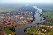 Aerial of Juba, the capital of South Sudan, with the river Nile running in the middle. Juba downtown is upper middle close to the river, and the airport can be seen upper left. The picture is from the