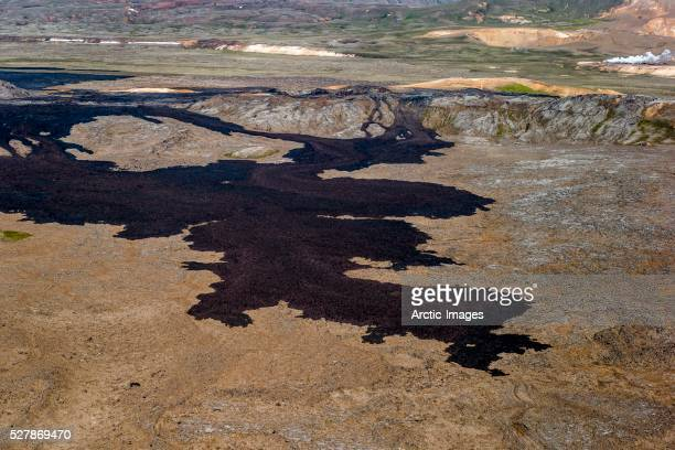 Aerial of Krafla Lava fields, Northern Iceland
