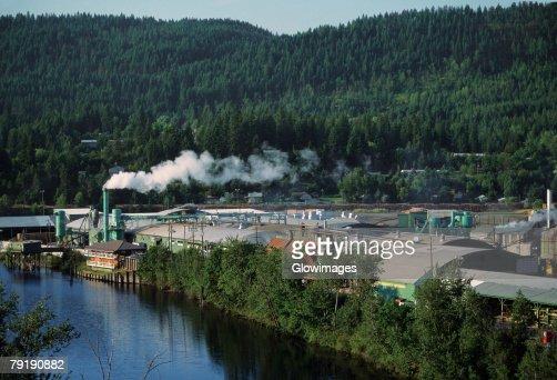 Aerial of large sawmill, Idaho : Stock Photo