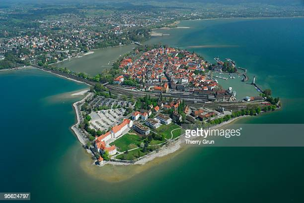 Aerial of Lindau peninsula, Lake Constance