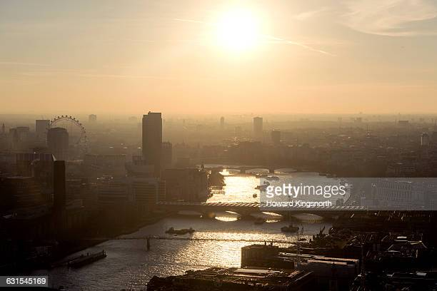 Aerial of London at sunset