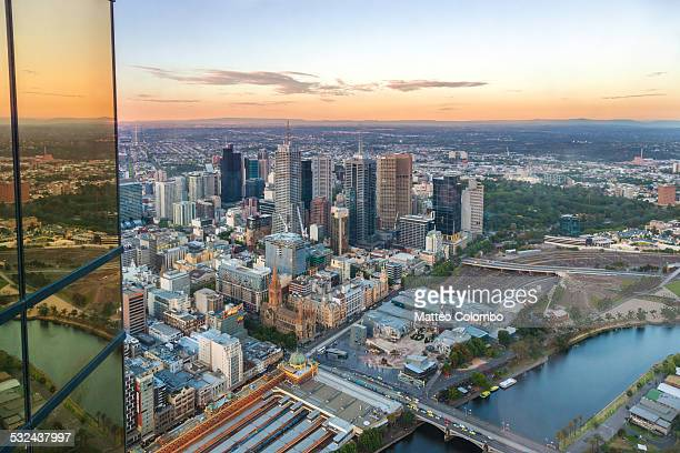Aerial of Melbourne city at sunset, Australia