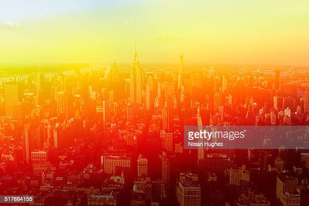 Aerial of midtown NYC, with photo treatment