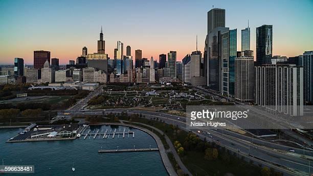 Aerial of Millennium Park Chicago