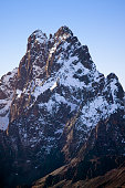 Aerial of Mount Kenya Africa and snow in January the second highest mountain at 17058 feet or 5199 Meters