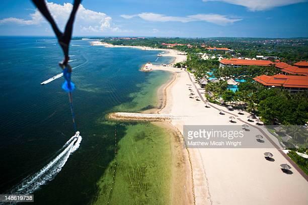 Aerial of Nusa Dua from parasailer.