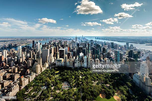 Aerial of NYC over Central Park