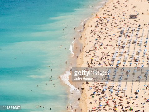 Aerial of Ondarreta Beach, San Sebastian, Spain