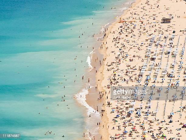 Aerial of Ondarreta Beach, San Sebastian, Spain