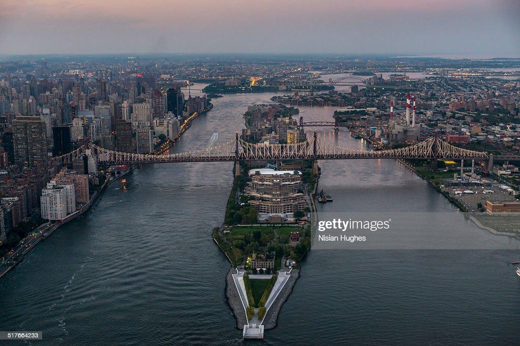 Aerial of Queensboro Bridge over the East River