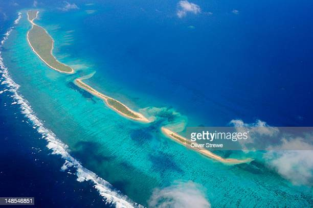 Aerial of reefs in Ha'apai Group.