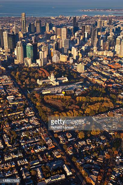 Aerial of Royal Exhibition Building, Carlton Gardens and central business district.