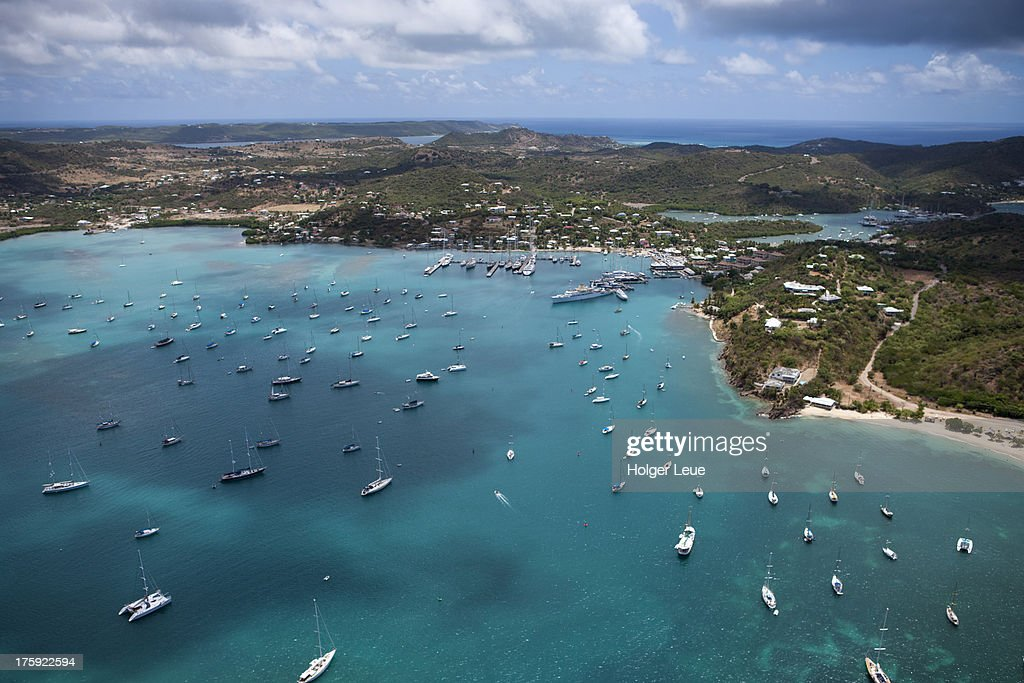 Aerial of sailboats in Falmouth Harbour