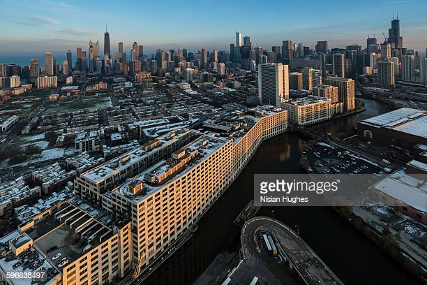 Aerial of skyscrapers, Chicago River in Chicago IL