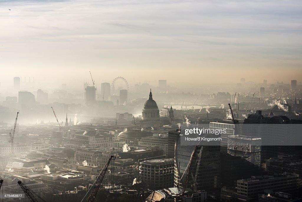 Aerial of St Paul's in the fog : Stock Photo