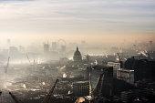 Aerial of St Paul's in the fog