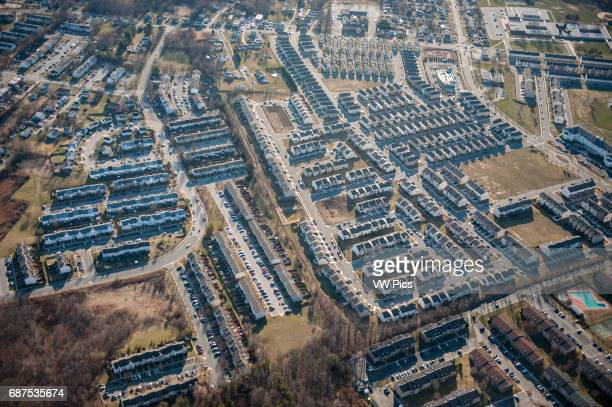 Aerial of suburban area in Baltimore county Maryland