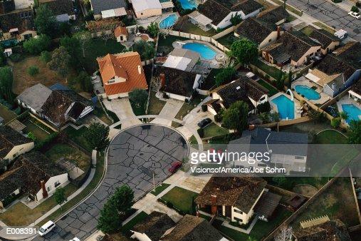 Aerial of suburban cul-de-sac