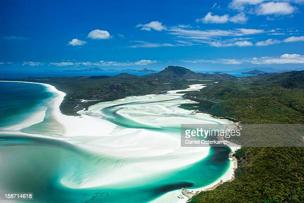 Aerial of sweet water river at Whitsunday Island
