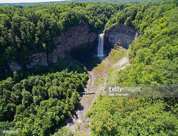 Aerial of Taughannock Falls in Ithaca, NY