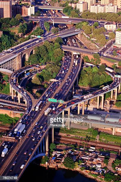 Aerial of the George Washington Bridge,West River Drive and Cross Bronx Expressway.