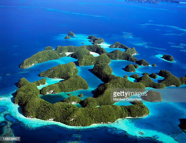Aerial of the Rock Islands of Palau, or 'Ngerukuld' in Polynesian.