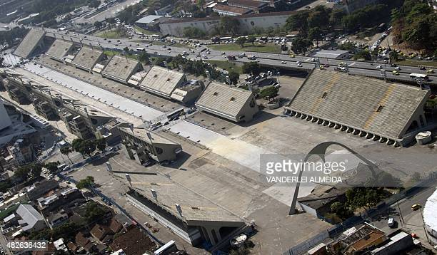 Aerial of the 'Sambodromo' works where the Rio 2016 Olympic Games marathon will arrive and the archery events will take place in Rio de Janeiro...
