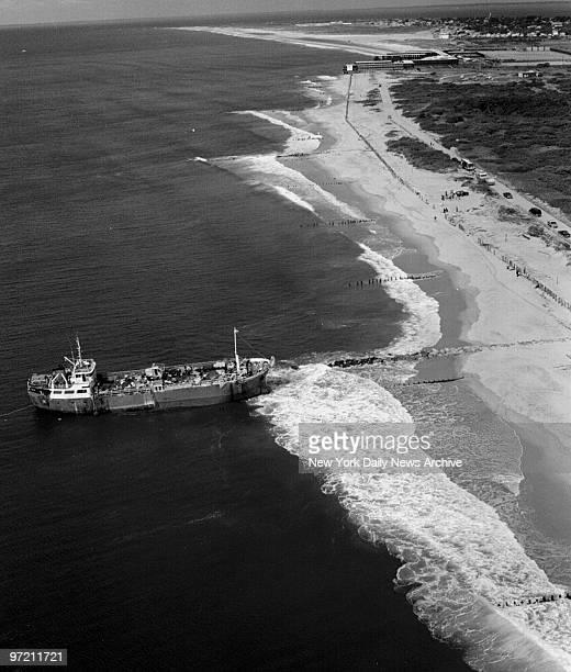 Aerial of the ship 'Golden Venture' run aground on Rockaway Beach