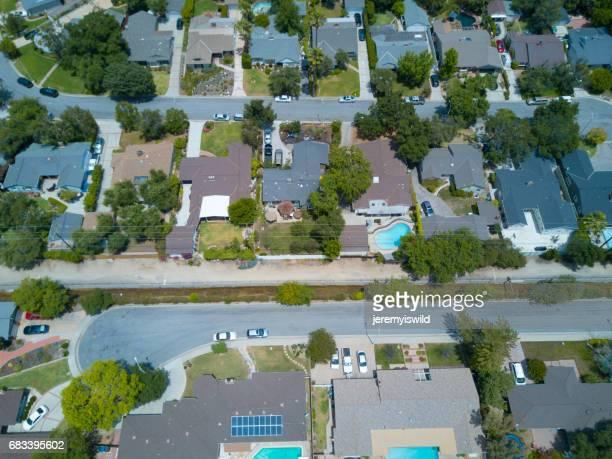 Aerial of Tree Filled Neighborhood