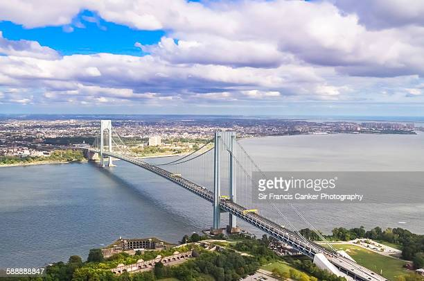 Aerial of Verrazano suspension bridge, New York