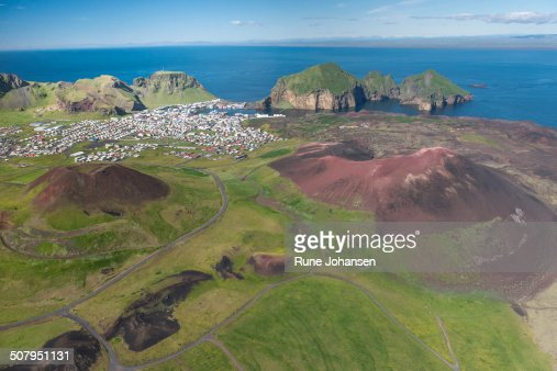 Aerial of Vestmannaeyjar Harbor
