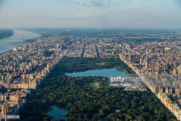 Aerial over Central Park looking north