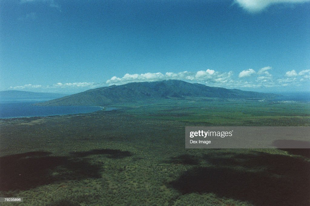 Aerial over land of Maui, Hawaii : Stock Photo