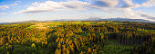 Aerial panoramic shot of beautiful Bavarian countryside at sunset in spring.