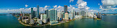 Aerial panorama of Brickell Miami Downtown for large scale prints