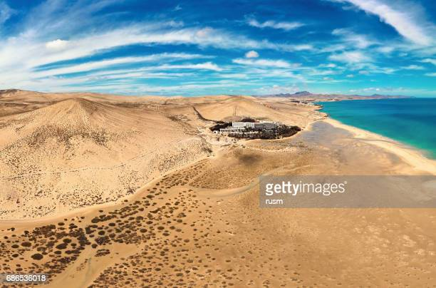 Aerial panorama of Costa Calma beaches, Fuerteventura, Canary Islands.