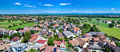 Aerial panorama of Eschau, a village near Strasbourg - Bas-Rhin, France