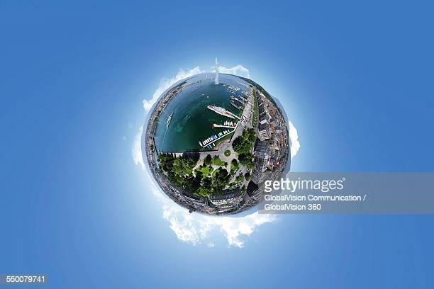 360° Aerial Panorama of Jet d'Eau Geneva