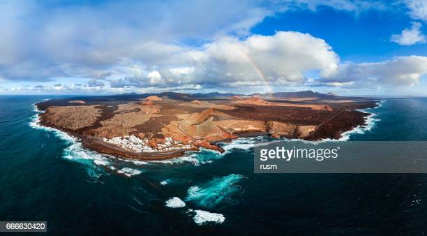 Aerial panorama of Lanzarote Island and Volcanic Lake El Golfo, Canary Islands.
