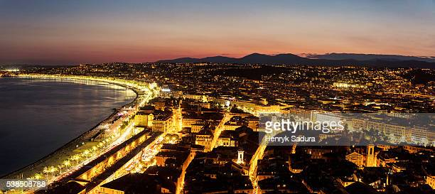 Aerial panorama of Nice at evening