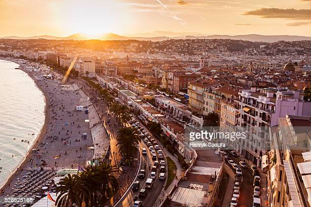 Aerial panorama of Nice at sunset