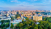 Aerial panorama of St. Michaels Golden-Domed Monastery, Ministry of Foreign Affairs and Saint Sophia Cathedral in Kiev - Ukraine