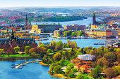 Scenic summer aerial panorama of the Old Town (Gamla Stan) architecture in Stockholm, Sweden