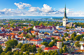 Scenic summer aerial panorama of the Old Town in Tallinn, Estonia. See also: