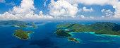 aerial panorama of US and British Virgin Islands